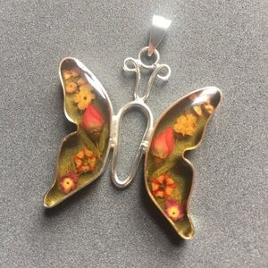 🦋Pressed Flowers Butterfly Pendent in Sterling